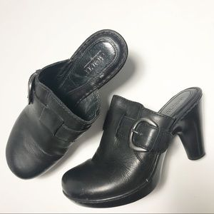 Born Black Leather Buckle Clogs Mules